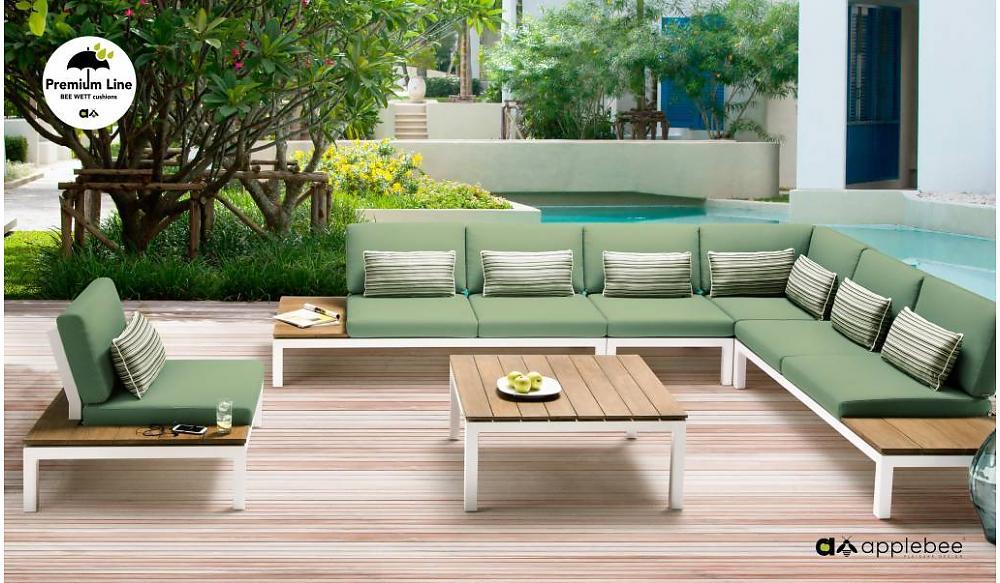 aluminium hoek loungeset met groene kussens
