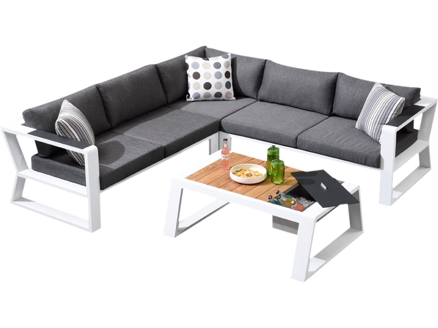 hoek loungeset aluminium wit