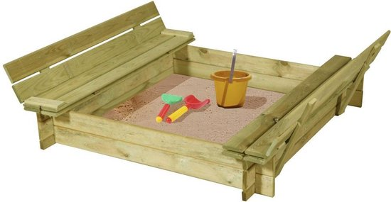 houten zandbak met bankjes