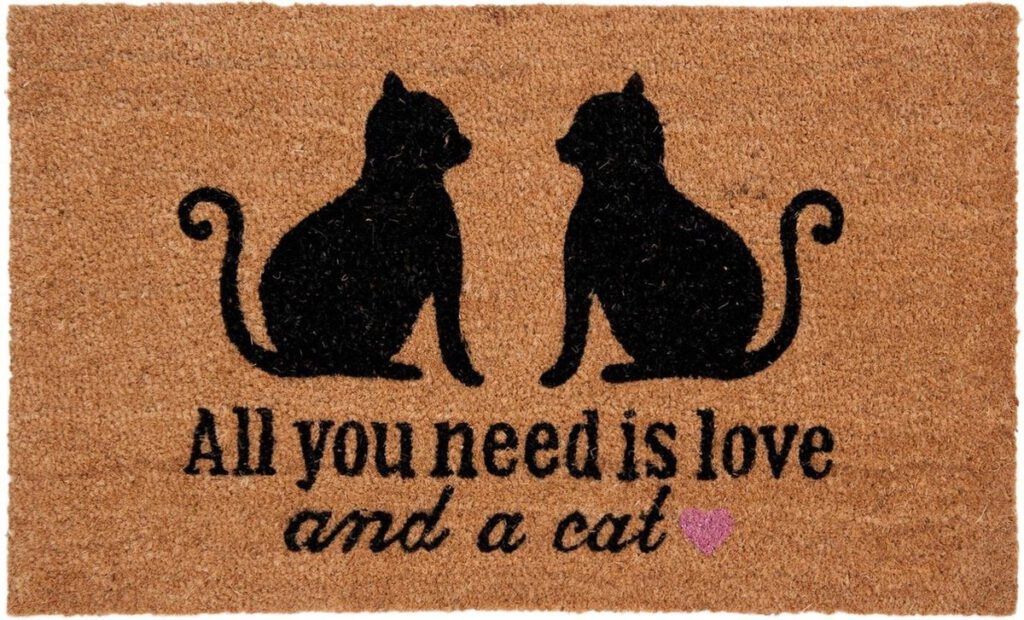 Deurmat all you need is love and a cat